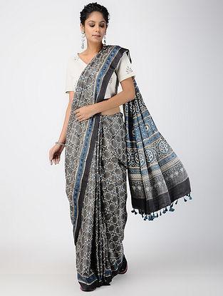 Indigo-Beige Ajrakh-printed Gajji Silk Saree with Tassels