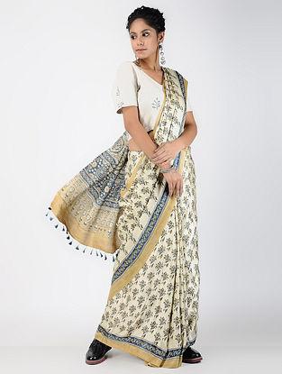 Ivory-Indigo Ajrakh-printed Gajji Silk Saree with Tassels