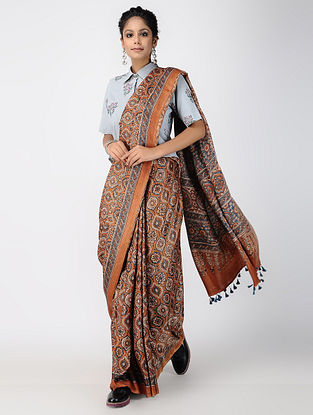 Multicolor Ajrakh-printed Gajji Silk Saree with Tassels