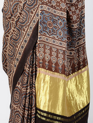 Madder Ajrakh-printed Gajji Silk Saree with Tassels
