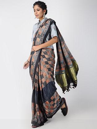 Indigo-Madder Ajrakh-printed Gajji Silk Saree with Tassels