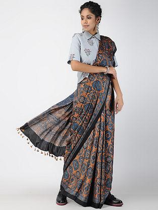 Indigo-Beige Ajrakh-printed Modal Saree with Tassels