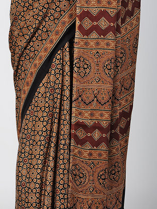 Beige-Madder Ajrakh-printed Modal Saree with Tassels