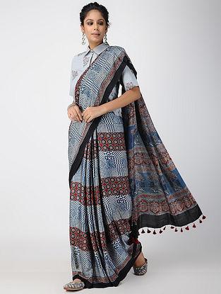 Indigo-Madder Ajrakh-printed Modal Saree with Tassels
