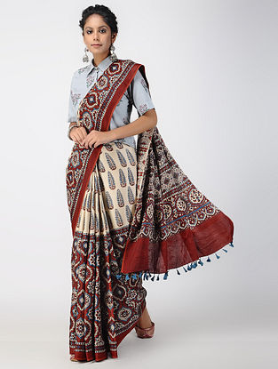 Ivory-Madder Ajrakh-printed Modal Saree with Tassels