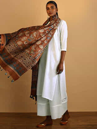 Rust Ajrakh-printed Silk Cotton Dupatta