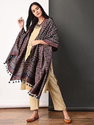 Purple Ajrakh-printed Silk Cotton Dupatta