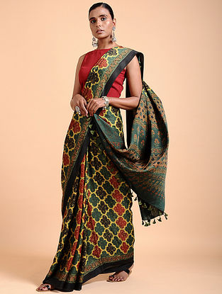 Green-Yellow Ajrakh-printed Modal Saree with Tassels