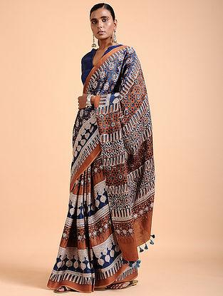 Madder-Indigo Ajrakh-printed Modal Saree with Tassels