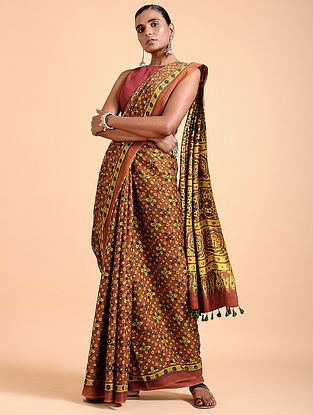 Yellow-Madder Ajrakh-printed Modal Saree with Tassels