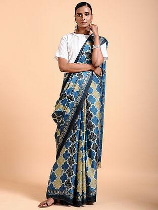 Indigo-Ivory Ajrakh-printed Modal Saree with Tassels