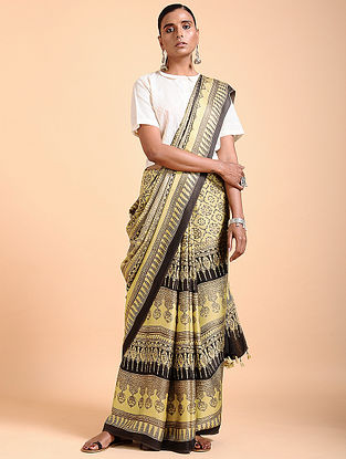 Ivory-Brown Ajrakh-printed Modal Saree with Tassels