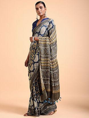 Brown-Indigo Ajrakh-printed Modal Saree with Tassels