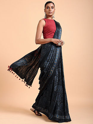 Indigo Ajrakh-printed Modal Saree with Tassels