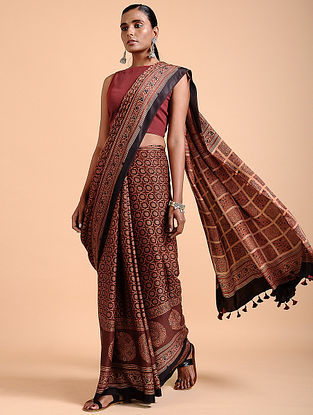 Madder Ajrakh-printed Modal Saree with Tassels