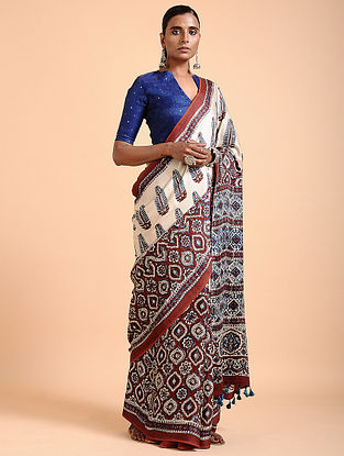 Ivory-Madder Ajrakh-printed Modal Saree with Tassels