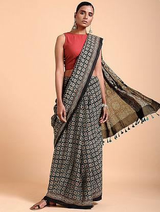 Indigo-Black Ajrakh-printed Cotton Saree with Tassels