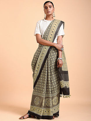 Brown-Ivory Ajrakh-printed Cotton Saree with Tassels
