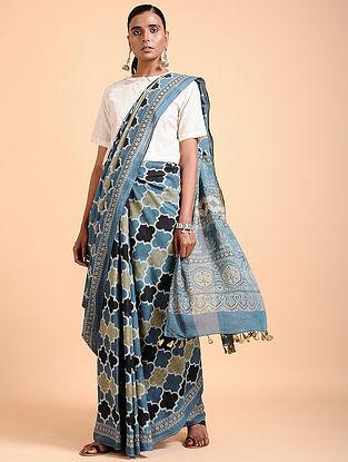 Indigo-Ivory Ajrakh-printed Cotton Saree with Tassels