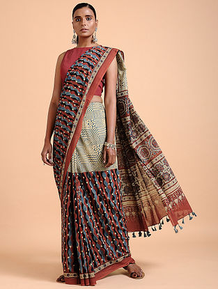 Madder-Ivory Ajrakh-printed Cotton Saree with Tassels