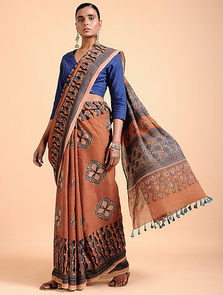 Madder Ajrakh-printed Cotton Saree with Tassels