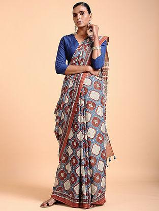 Madder-Indigo Ajrakh-printed Cotton Saree with Tassels