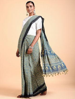 Indigo Ajrakh-printed Cotton Saree with Tassels