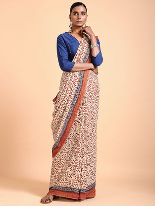 Ivory-Madder Ajrakh-printed Cotton Saree with Tassels
