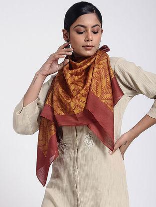 Orange-Pink Block-printed Cotton Silk Stole