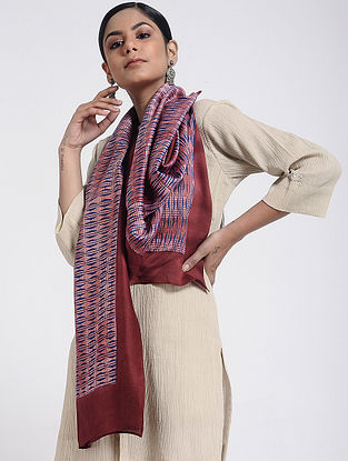 Blue-Red Block-printed Cotton Silk Stole