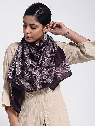 Purple-Ivory Block-printed Cotton Silk Stole