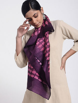 Purple Block-printed Cotton Silk Stole