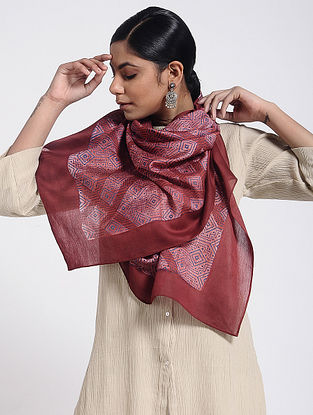 Red Block-printed Cotton Silk Stole