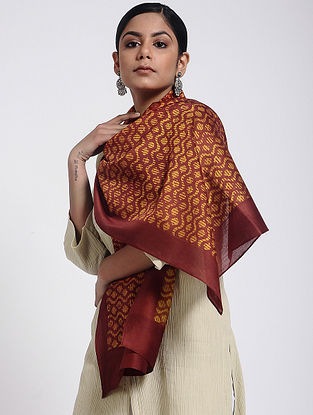 Red-Yellow Block-printed Cotton Silk Stole
