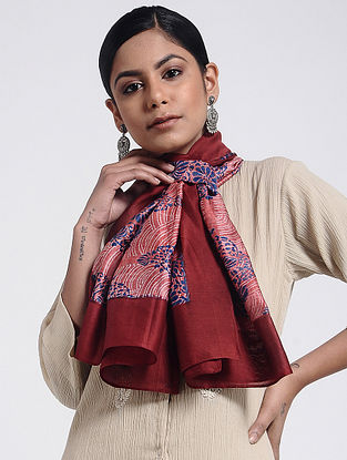 Red-Blue Block-printed Cotton Silk Stole