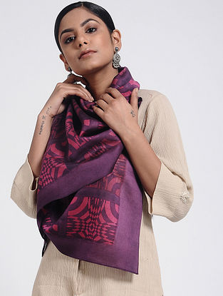 Blue-Pink Block-printed Cotton Silk Stole