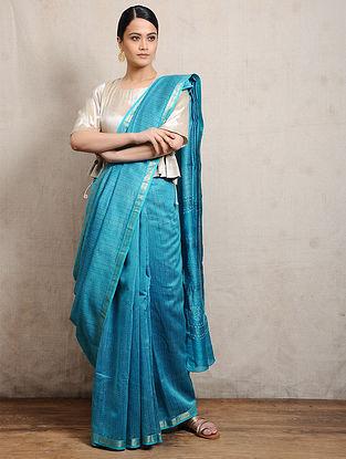Blue Chunari Block-printed Silk Cotton Maheshwari Saree
