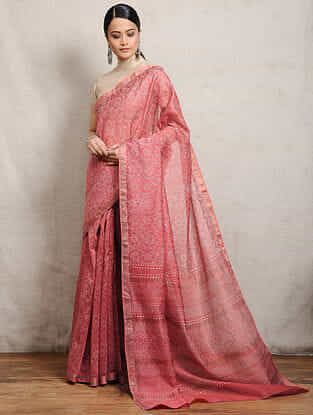 Red Chunari Block-printed Silk Cotton Maheshwari Saree