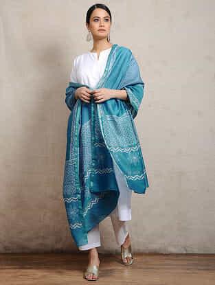Blue Block-printed Silk Cotton Maheshwari Dupatta