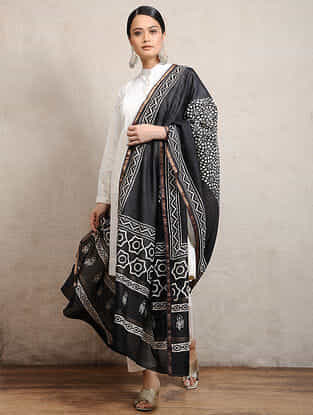 Black Block-printed Silk Cotton Maheshwari Dupatta