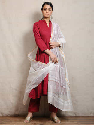 Ivory Block-printed Silk Cotton Maheshwari Dupatta