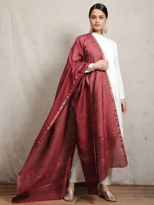 Red Block-printed Silk Cotton Maheshwari Dupatta