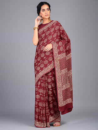 Red-Ivory Block Printed Modal Silk Saree