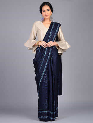 Blue-Ivory Block Printed Modal Silk Saree