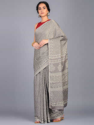 Grey-Ivory Block Printed Modal Silk Saree