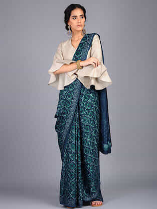 Blue-Green Block Printed Modal Silk Saree