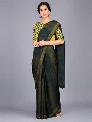 Green-Yellow Block Printed Modal Silk Saree