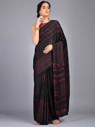 Black-Red Block Printed Modal Silk Saree