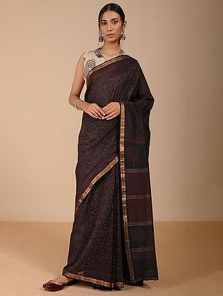 Black-Red Dabu-printed Silk Cotton Saree with Zari