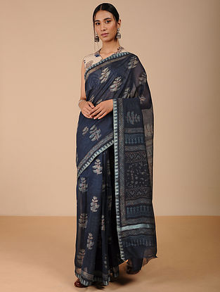 Blue Dabu-printed Silk Cotton Saree